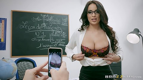 Teacher Anissa Kate flips out her tits and strips for student while he films her on his phone