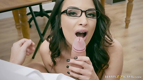 Oral sex with glasses Anissa Kate in language class