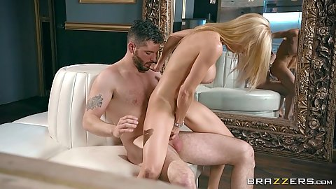 White blonde milf Alexis Fawx gets comfortable on cock