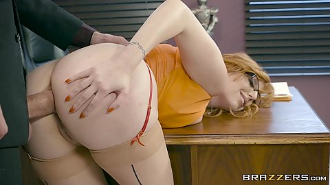 Bent over anal with vixen Lauren Phillips head smacked on table