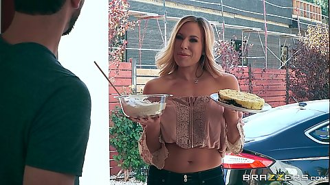 Big tits zealous milf Olivia Austin brings over some tasty food