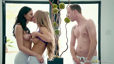 Ariana Marie and Nicole Aniston getting naked wearing tight yoga pants on athletic bodies