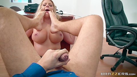 Busty milf feet in her face in pov office romance Brooklyn Chase