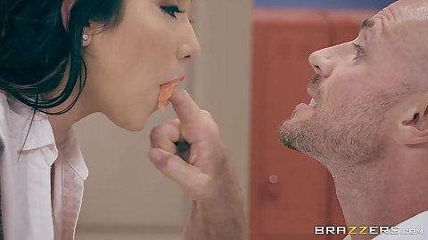 Mouth fingering Karlee Grey in classroom action