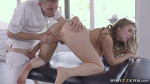 Fingering and doggy screwing Lena Paul with large cock from behind