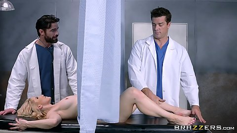 Doctors using a screen to touch milf Ashley Fires