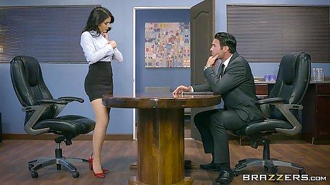 Valentina Nappi goes into the office and starts to strip