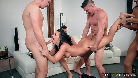 Office party turns into a full blown gang bang with Adriana Chechik loving her holes stuffed