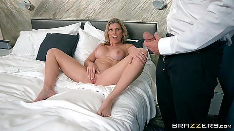 Naked milf in hotel room on vacation Cory Chase sucks cock