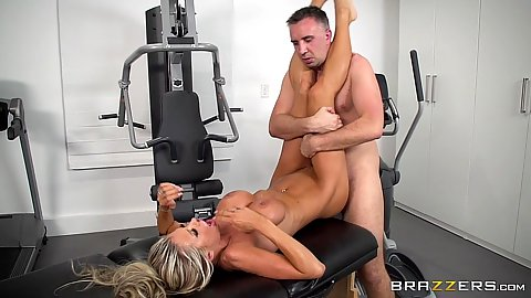 Frontal massage table sex right at the gym after sexy workout Courtney Taylor