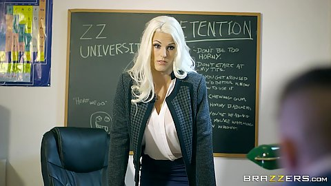 Super sexy classroom teacher babe Blanche Bradburry strips for students