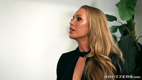 Blonde office babe Nicole Aniston shows some ass