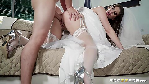 Fucking in a wedding dress with horny bride Karina White