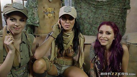 Army soldiers in parody pov suck Stella Cox and Monique Alexander and Jasmine Jae