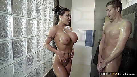 August Taylor is a milf that loves finding men in the shower naked