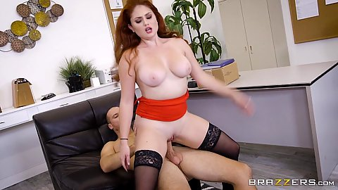 Fucking behind the desk with big chested redhead chubby whore Lennox Luxe