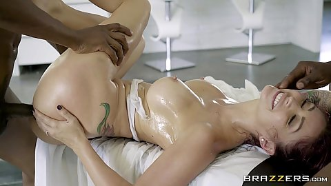 Oiled and slipper with Monique Alexander doing deep throat and anal in mmf