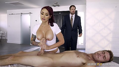 Alluring Monique Alexander rubbing and tugging dick in nice massage