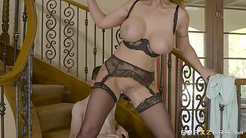 Neighborhood busty milf Eva Notty fucks boy