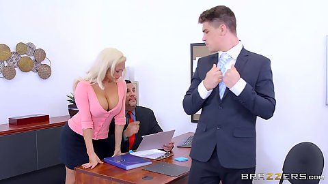 Olivia Fox attractive officer work sits on man
