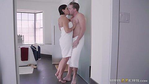 Wrapped in towel stepmom milf Shay Fox kisses