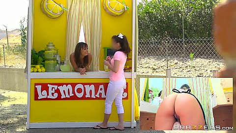 Lemonade stand Charlotte Cross gets ass touched and cold popsicle inserted