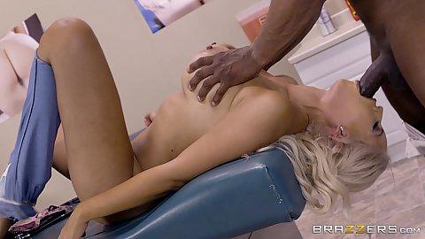 Big black cock screwing blonde latina milf Bridgette B during medical exam