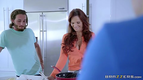 Redhead milf Syren De Mer fully clothed cooking something for stepsons
