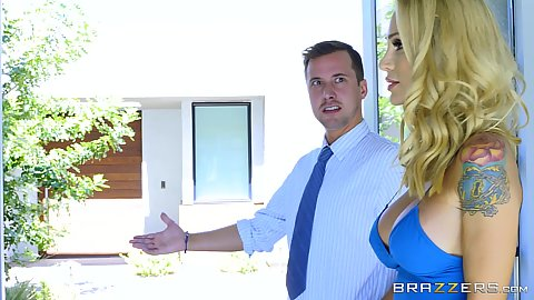 Blonde babe in sex blue dress Sarah Jessie