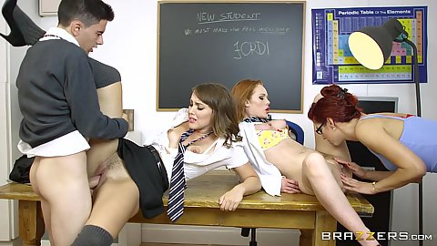 College student sluts and milf teacher fuck male student Zoe Doll and Ella Hughes and Shona River