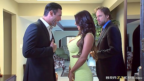 Brunette fully clothed August Taylor meets her ex husband