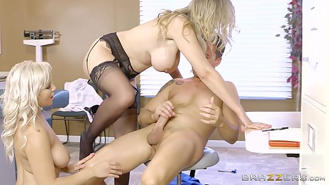 Cowgirl and doggy screwing with two blondes Julia Ann and Kylie Page visiting the doctor