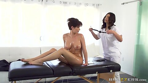 Emily Addison is oiled and ready for all girl massage with mouthgag