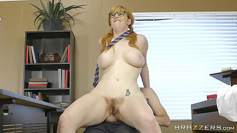 Hairy big chested fair skinned redhead grinds on dick in classroom Lauren Phillips