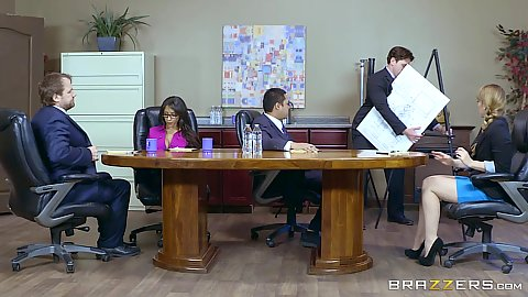 Office meeting with executives and horny Priya Price