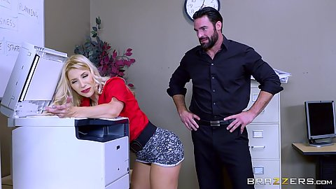 Office blonde Ashley Fires has a paper jam in office copier