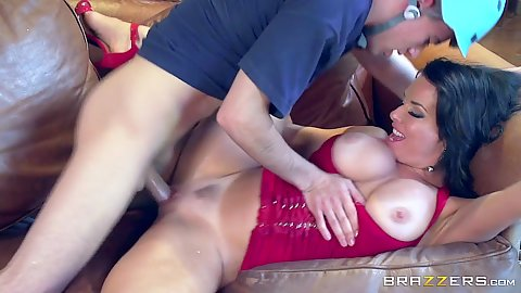 Big chested brunette stepmom milf Veronica Avluv fucked by boy on couch