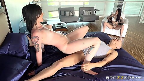 Sneaky dick sharing inked sluts Nikki Hearts and Leigh Raven