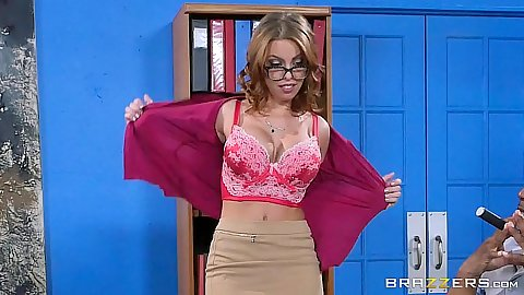 Undressing redhead milf in office Britney Amber and about to get gang bang during interview