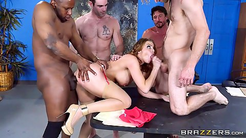 Radiant redhead whore Britney Amber fucked in interracial gang bang at the office