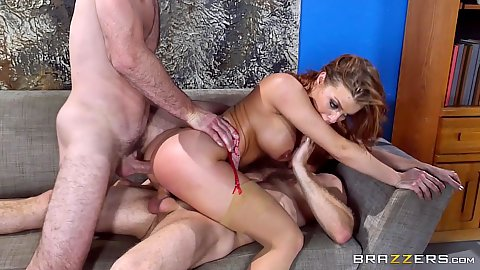 Lecherous Britney Amber double penetration during office interview