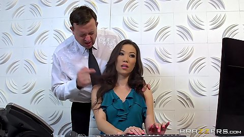 Asian office worker Kalina Ryu approached by boss