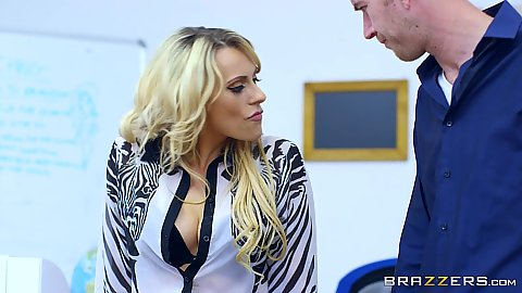 Teacher blonde Brittany Bardot wants to get spanked with classroom stick