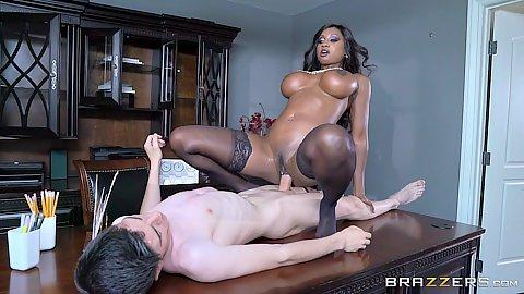 Table black girl white cock sex with big chested Diamond Jackson