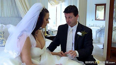 Dressed bride ready to get cheating Simony Diamond
