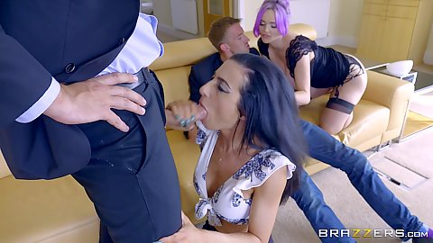 Swingers cock trading with half dressed bitches Jasmine James and Skyler Mckay