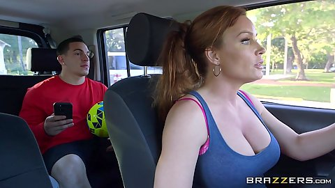 Driving around with majestic redhead mom Diamond Foxxx then glory hole oral