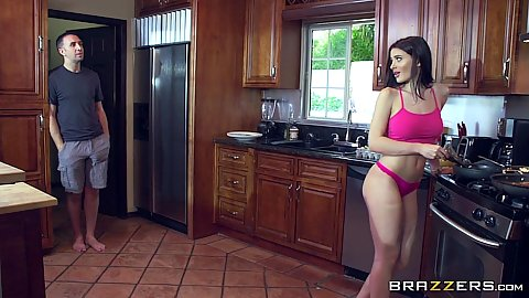 Fresh girl in her underwear Lana Rhoades cooking something in the kitchen