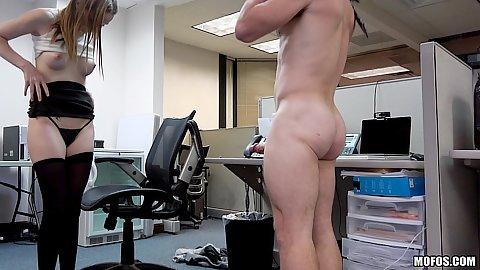 Secret cam working office whore Ava Hardy fucks guy in chair