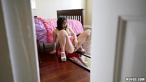 Violet Starr masturbating in her bedroom and roomie spies on her
